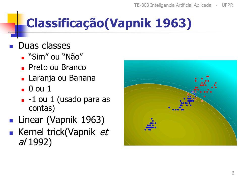 TE-803 Inteligencia Artificial Aplicada - UFPR 6 Classificação(Vapnik 1963) Duas classes Sim ou Não Preto ou Branco Laranja ou Banana 0 ou 1 -1 ou 1 (