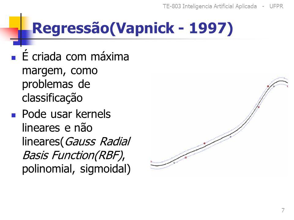 TE-803 Inteligencia Artificial Aplicada - UFPR 7 Regressão(Vapnick - 1997) É criada com máxima margem, como problemas de classificação Pode usar kernels lineares e não lineares(Gauss Radial Basis Function(RBF), polinomial, sigmoidal)