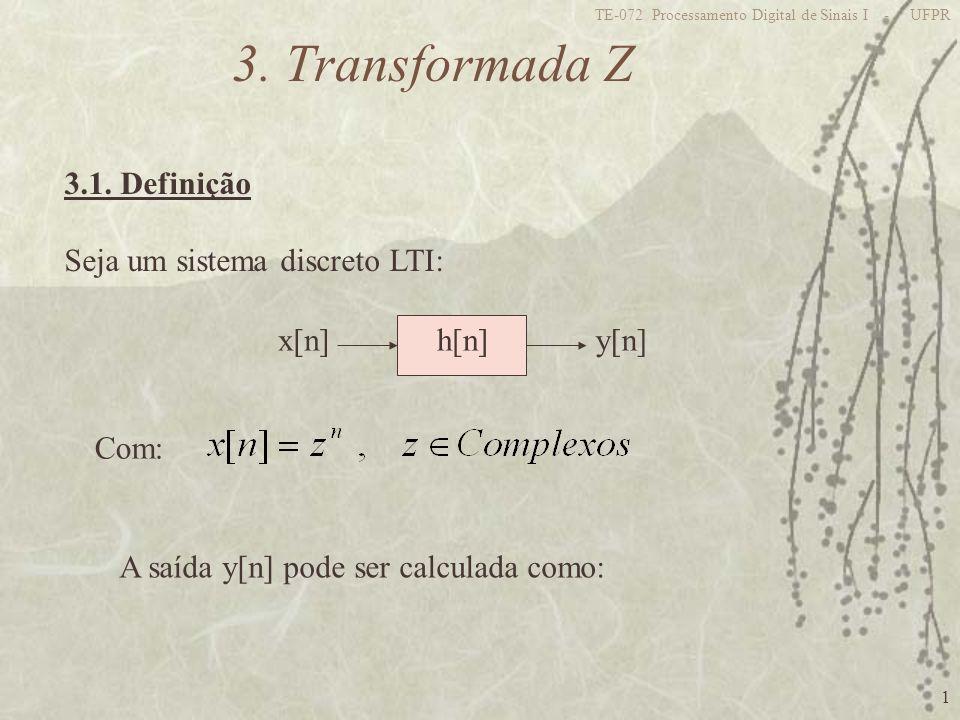 1 TE-072 Processamento Digital de Sinais I - UFPR 3. Transformada Z 3.1. Definição Seja um sistema discreto LTI: x[n]y[n]h[n] Com: A saída y[n] pode s