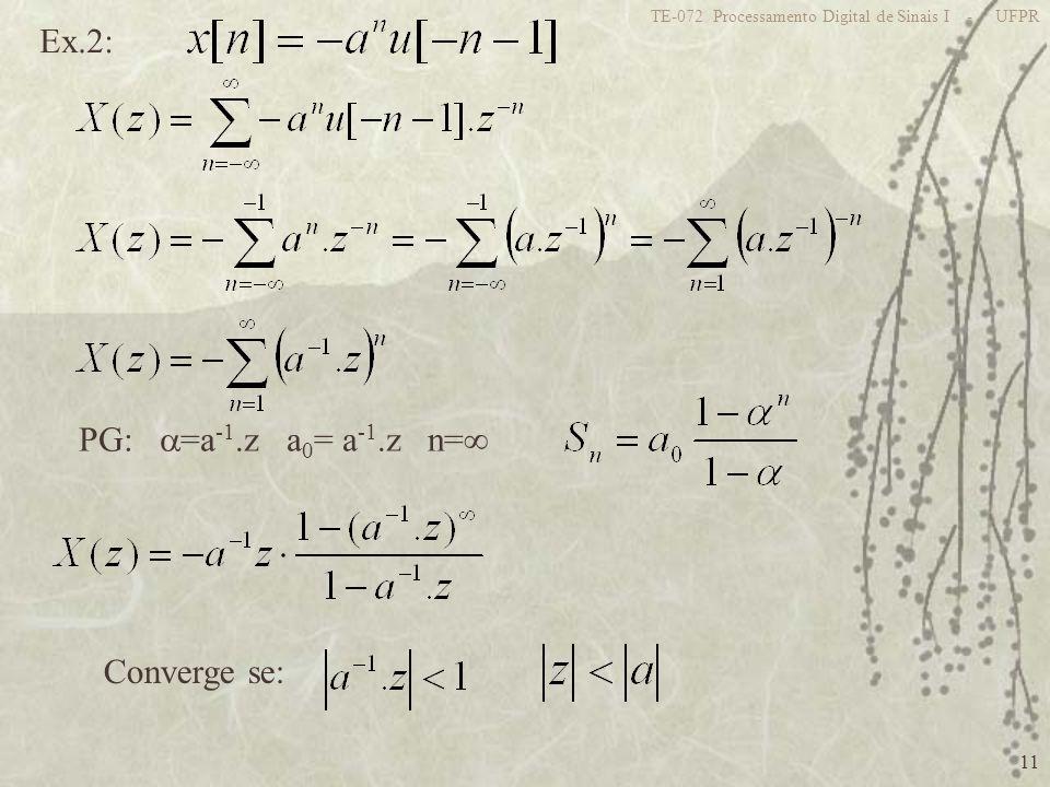11 TE-072 Processamento Digital de Sinais I - UFPR Ex.2: PG: =a -1.z a 0 = a -1.z n= Converge se: