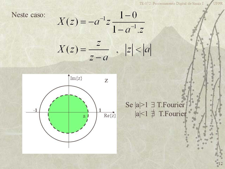 12 TE-072 Processamento Digital de Sinais I - UFPR Neste caso: z 1 Re{z} Im{z} a Se |a|>1 T.Fourier |a|<1 T.Fourier