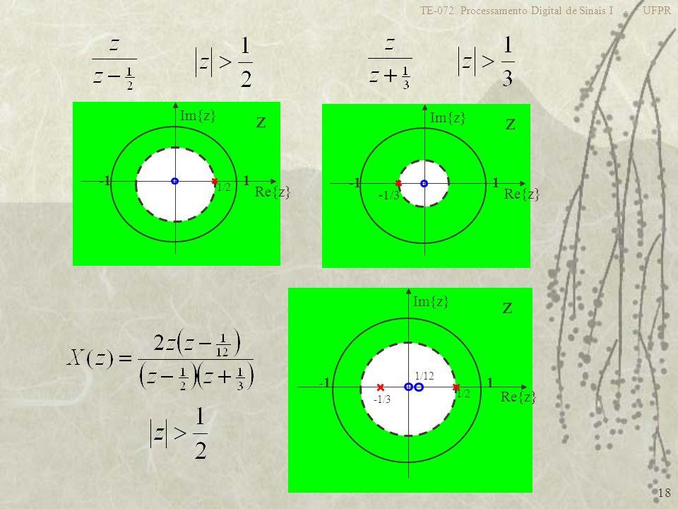 18 TE-072 Processamento Digital de Sinais I - UFPR z 1 Re{z} Im{z} 1/2 z 1 Re{z} Im{z} -1/3 z 1 Re{z} Im{z} 1/2 -1/3 1/12