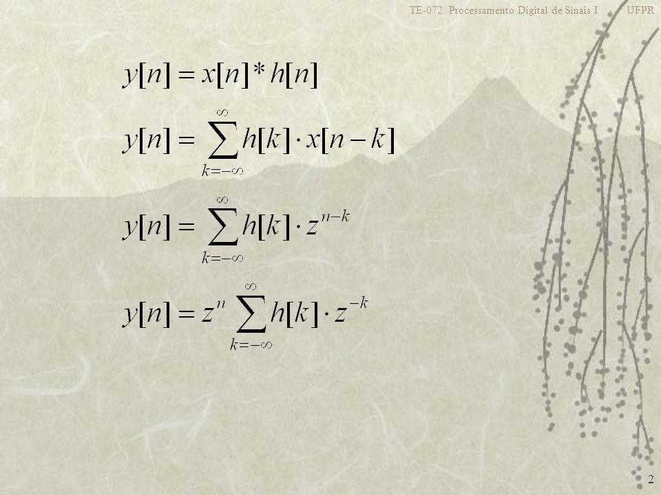 23 TE-072 Processamento Digital de Sinais I - UFPR Logo tem-se: N-1 pólos em z=0 N-1 zeros distribuídos uniformemente sobre um círculo de raio a z 1 Re{z} Im{z} (7) a p/ N=8 2 k/8 ROC: Todo plano z com exceção de z=0