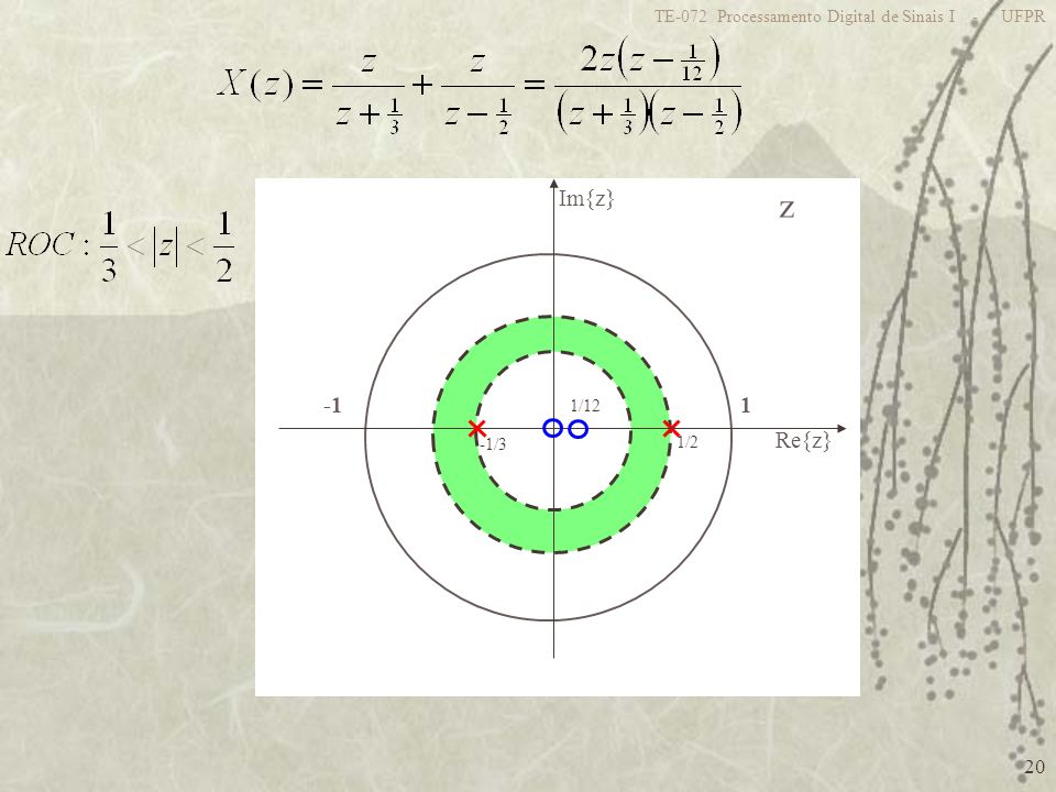 20 TE-072 Processamento Digital de Sinais I - UFPR z 1 Re{z} Im{z} 1/2 -1/3 1/12