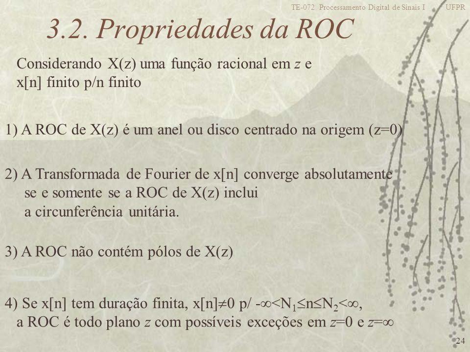24 TE-072 Processamento Digital de Sinais I - UFPR 3.2. Propriedades da ROC Considerando X(z) uma função racional em z e x[n] finito p/n finito 1) A R