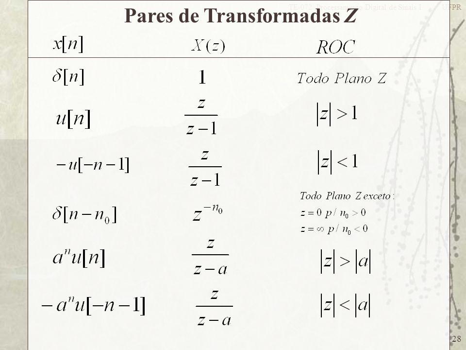 28 TE-072 Processamento Digital de Sinais I - UFPR Pares de Transformadas Z
