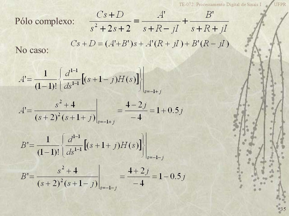 35 TE-072 Processamento Digital de Sinais I - UFPR Pólo complexo: No caso: