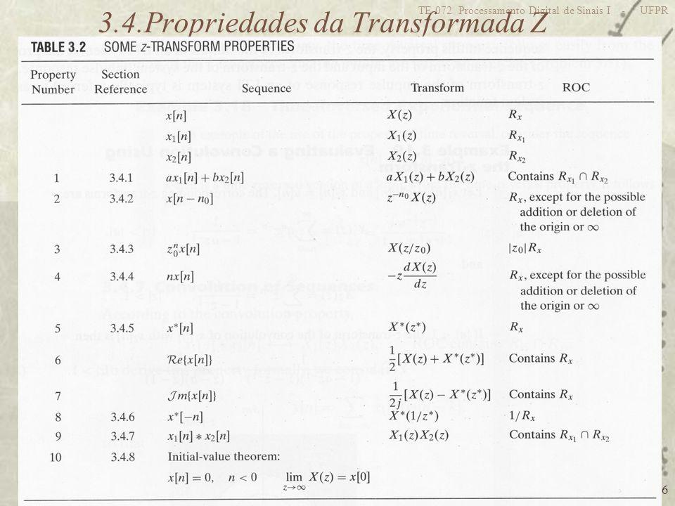 46 TE-072 Processamento Digital de Sinais I - UFPR 3.4.Propriedades da Transformada Z