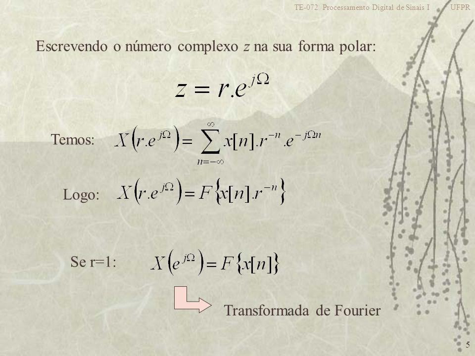 5 TE-072 Processamento Digital de Sinais I - UFPR Escrevendo o número complexo z na sua forma polar: Temos: Logo: Se r=1: Transformada de Fourier