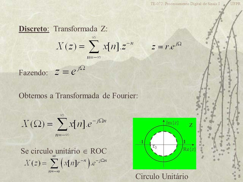 8 TE-072 Processamento Digital de Sinais I - UFPR z 1 Re{z} Im{z} Discreto: Transformada Z: Fazendo: Obtemos a Transformada de Fourier: Circulo Unitár