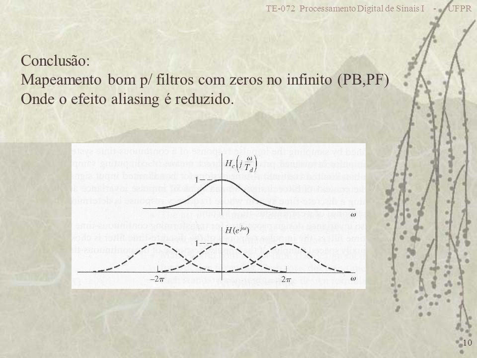 TE-072 Processamento Digital de Sinais I - UFPR 10 Conclusão: Mapeamento bom p/ filtros com zeros no infinito (PB,PF) Onde o efeito aliasing é reduzido.