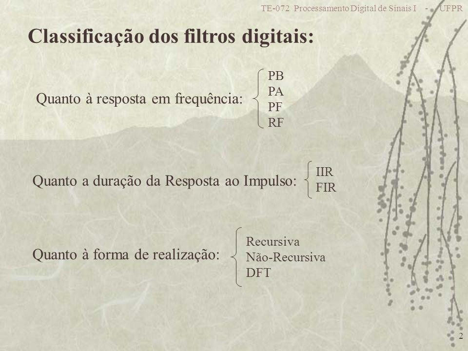 TE-072 Processamento Digital de Sinais I - UFPR 2 Classificação dos filtros digitais: Quanto à resposta em frequência: PB PA PF RF Quanto a duração da Resposta ao Impulso: IIR FIR Quanto à forma de realização: Recursiva Não-Recursiva DFT