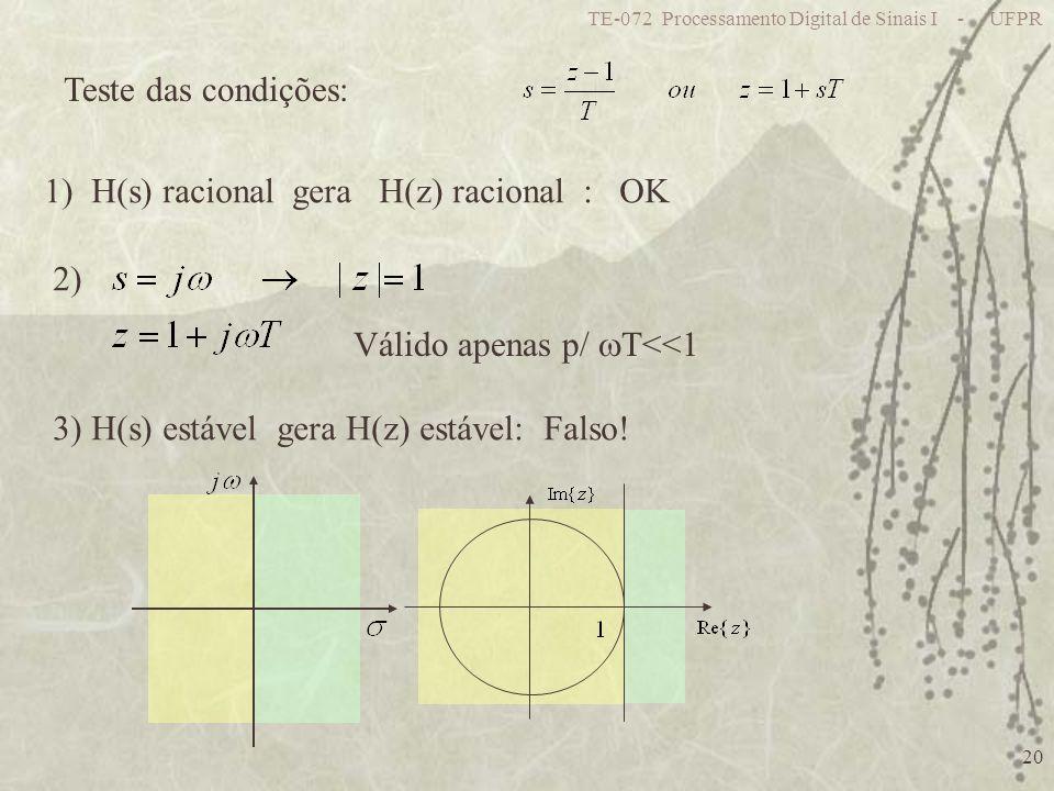 TE-072 Processamento Digital de Sinais I - UFPR 20 Teste das condições: 1) H(s) racional gera H(z) racional : OK 2) Válido apenas p/ T<<1 3) H(s) está