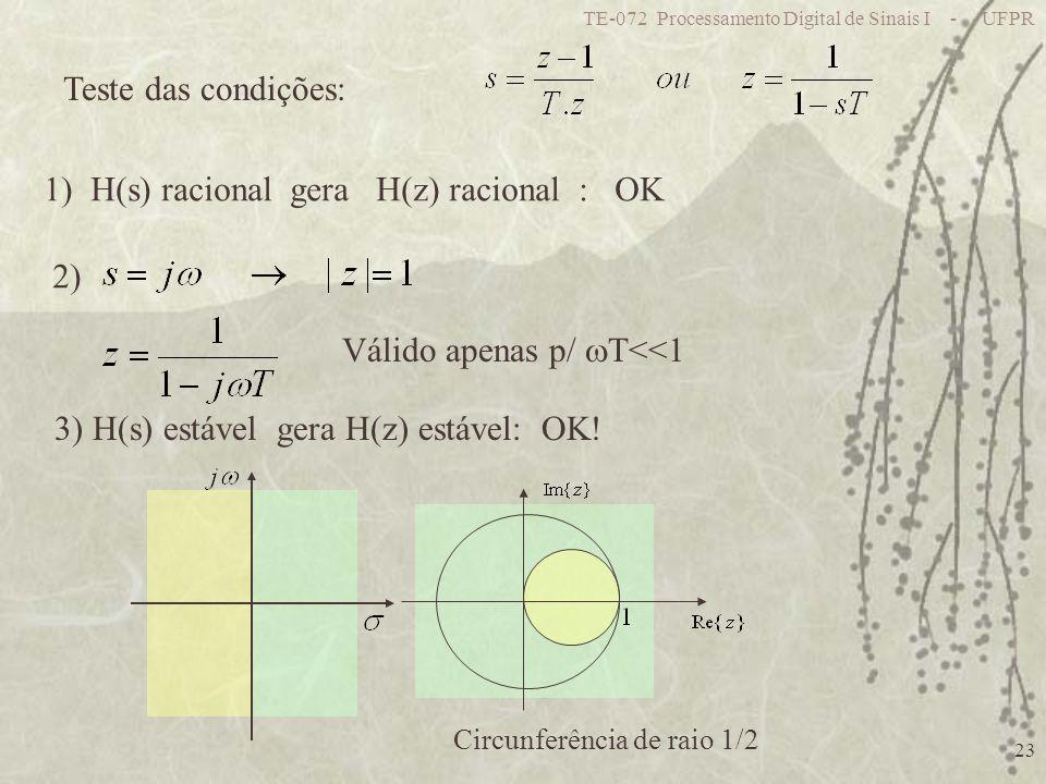 TE-072 Processamento Digital de Sinais I - UFPR 23 Teste das condições: 1) H(s) racional gera H(z) racional : OK 2) Válido apenas p/ T<<1 3) H(s) estável gera H(z) estável: OK.