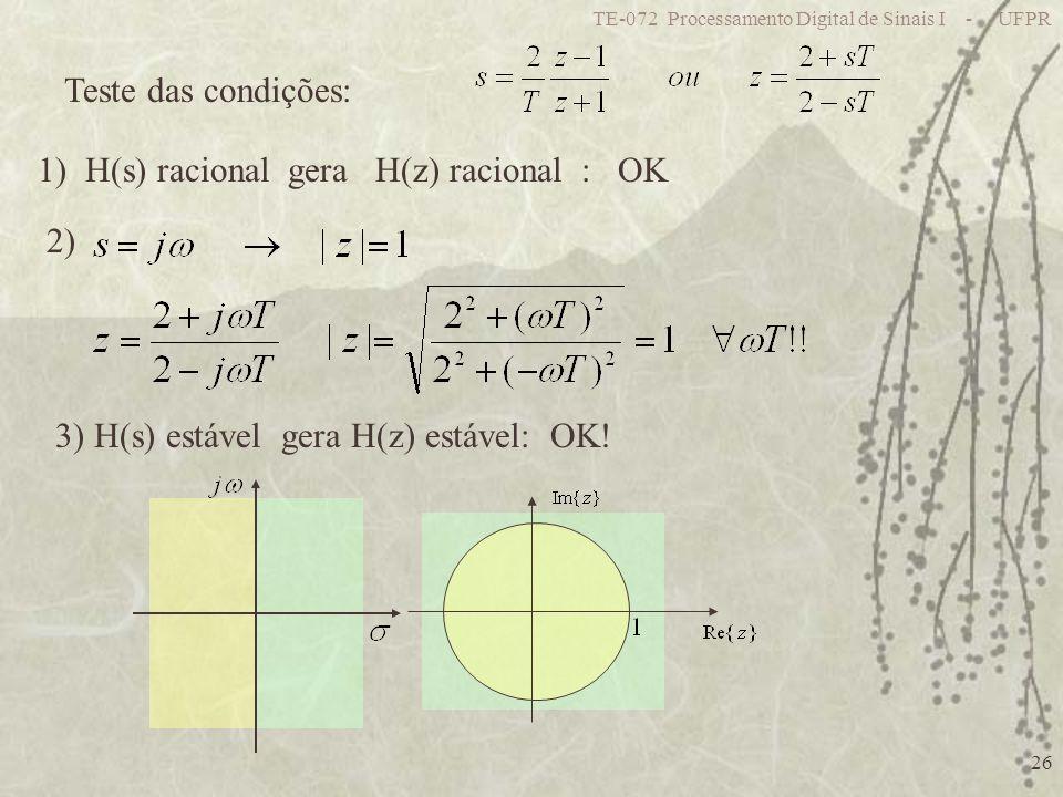 TE-072 Processamento Digital de Sinais I - UFPR 26 Teste das condições: 1) H(s) racional gera H(z) racional : OK 2) 3) H(s) estável gera H(z) estável: OK!