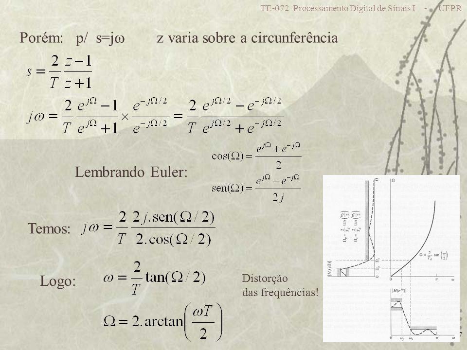TE-072 Processamento Digital de Sinais I - UFPR 27 Porém: p/ s=j z varia sobre a circunferência Lembrando Euler: Temos: Logo: Distorção das frequência