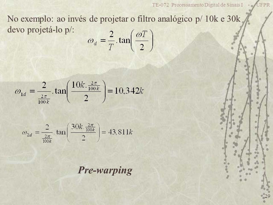 TE-072 Processamento Digital de Sinais I - UFPR 29 No exemplo: ao invés de projetar o filtro analógico p/ 10k e 30k devo projetá-lo p/: Pre-warping