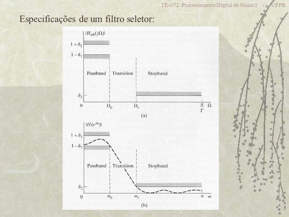 TE-072 Processamento Digital de Sinais I - UFPR 3 Especificações de um filtro seletor: