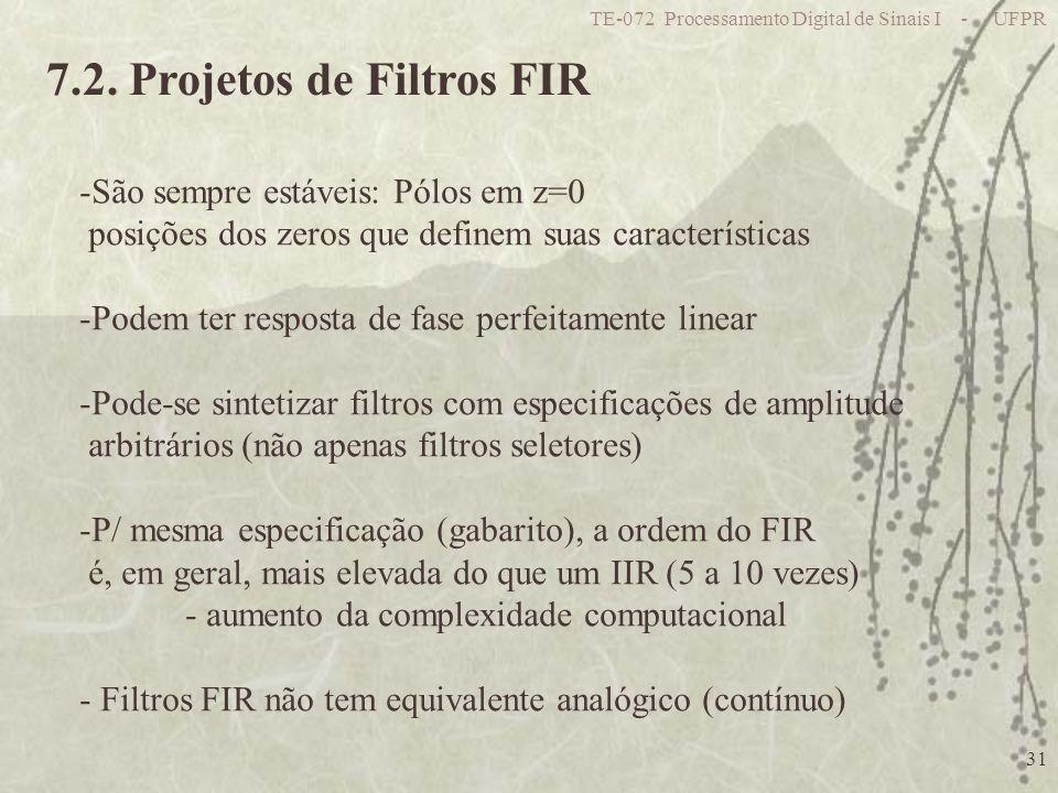 TE-072 Processamento Digital de Sinais I - UFPR 31 7.2. Projetos de Filtros FIR -São sempre estáveis: Pólos em z=0 posições dos zeros que definem suas