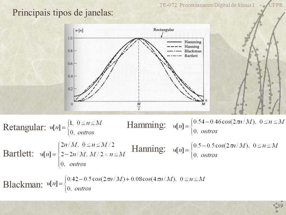 TE-072 Processamento Digital de Sinais I - UFPR 39 Principais tipos de janelas: Retangular: Bartlett: Hanning: Hamming: Blackman: