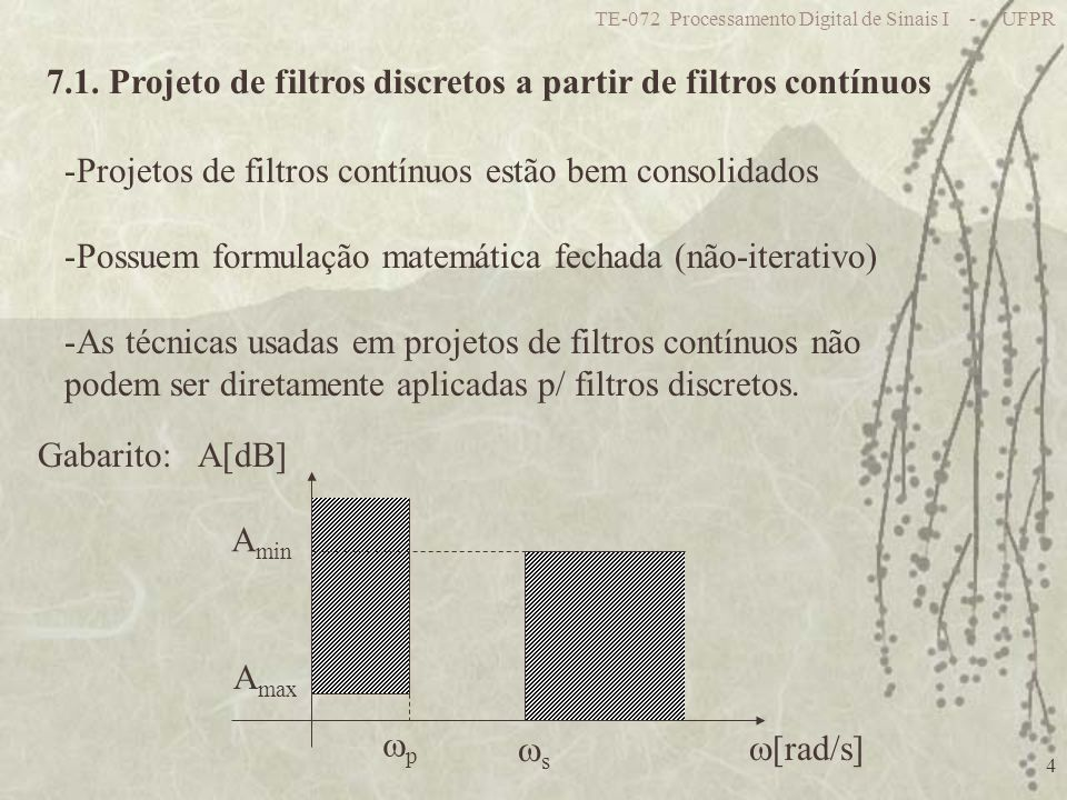 TE-072 Processamento Digital de Sinais I - UFPR 4 7.1. Projeto de filtros discretos a partir de filtros contínuos -Projetos de filtros contínuos estão
