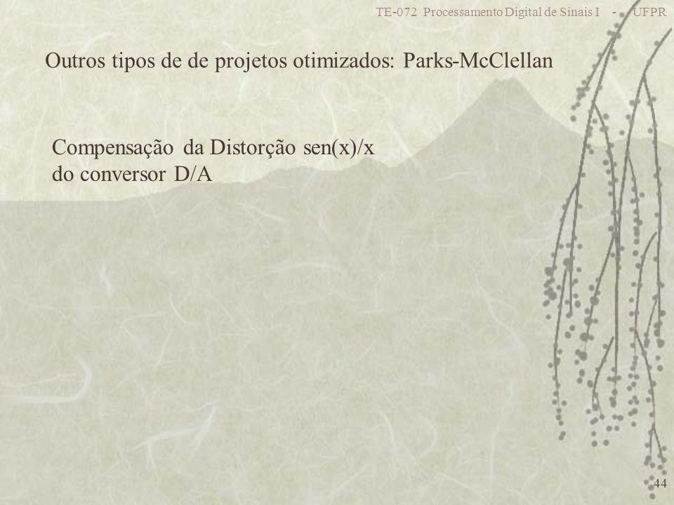 TE-072 Processamento Digital de Sinais I - UFPR 44 Compensação da Distorção sen(x)/x do conversor D/A Outros tipos de de projetos otimizados: Parks-McClellan