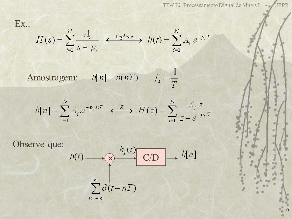 TE-072 Processamento Digital de Sinais I - UFPR 27 Porém: p/ s=j z varia sobre a circunferência Lembrando Euler: Temos: Logo: Distorção das frequências!