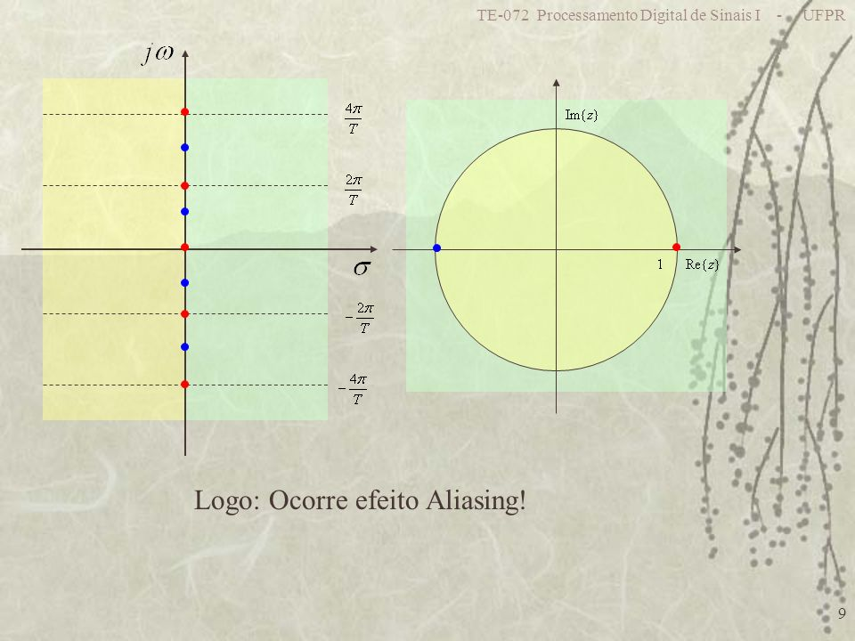 TE-072 Processamento Digital de Sinais I - UFPR 9 Logo: Ocorre efeito Aliasing!
