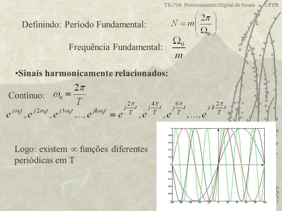 TE-708 Processamento Digital de Sinais - UFPR 13 Definindo: Período Fundamental: Frequência Fundamental: Sinais harmonicamente relacionados: Contínuo: