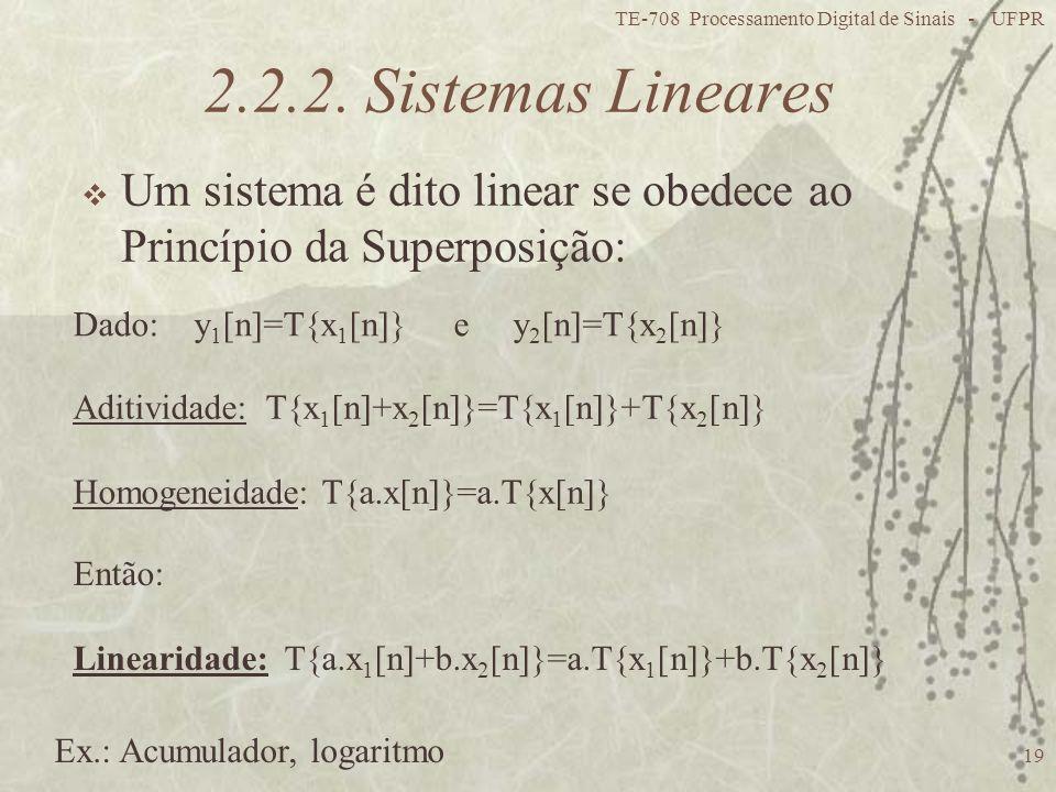 TE-708 Processamento Digital de Sinais - UFPR 19 2.2.2. Sistemas Lineares Um sistema é dito linear se obedece ao Princípio da Superposição: Dado: y 1