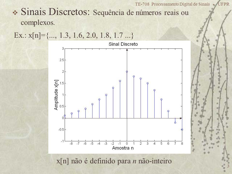 TE-708 Processamento Digital de Sinais - UFPR 3 Sinais Discretos: Sequência de números reais ou complexos. x[n] não é definido para n não-inteiro Ex.: