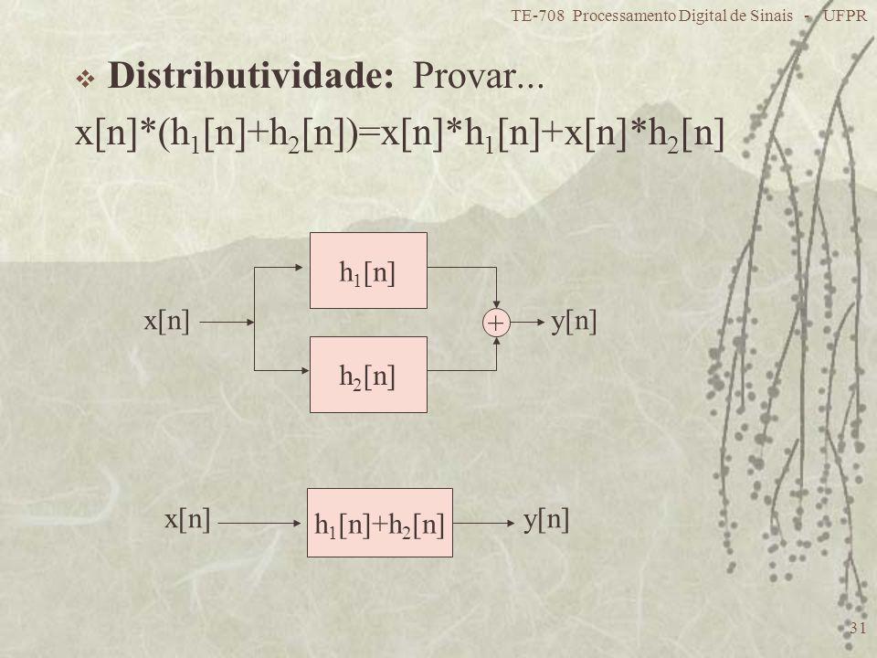 TE-708 Processamento Digital de Sinais - UFPR 31 Distributividade: Provar... x[n]*(h 1 [n]+h 2 [n])=x[n]*h 1 [n]+x[n]*h 2 [n] h 1 [n] h 2 [n] + x[n]y[