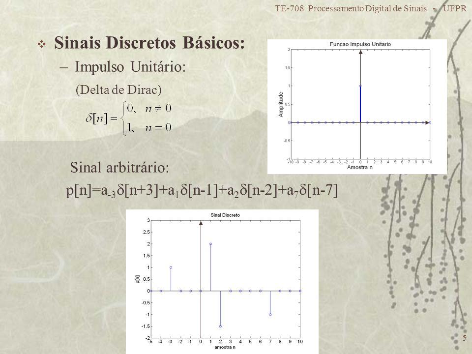 TE-708 Processamento Digital de Sinais - UFPR 5 Sinais Discretos Básicos: –Impulso Unitário: (Delta de Dirac) p[n]=a -3 [n+3]+a 1 [n-1]+a 2 [n-2]+a 7