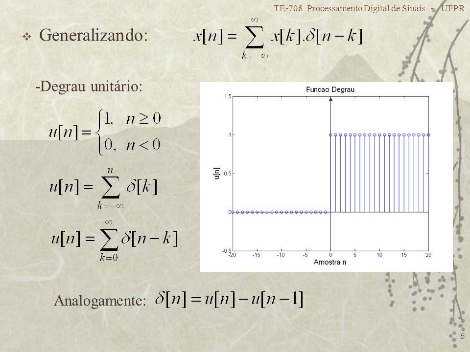 TE-708 Processamento Digital de Sinais - UFPR 6 Generalizando: -Degrau unitário: Analogamente: