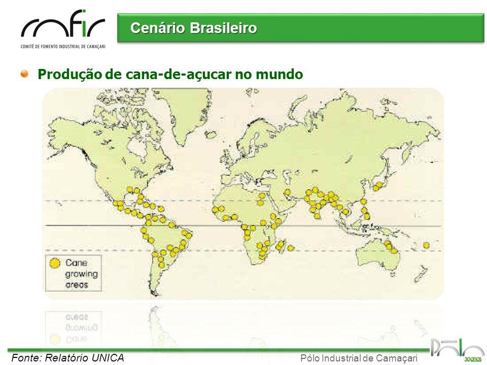Pólo Industrial de Camaçari Cenário Brasileiro Produção de cana-de-açucar no mundo Fonte: Relatório UNICA