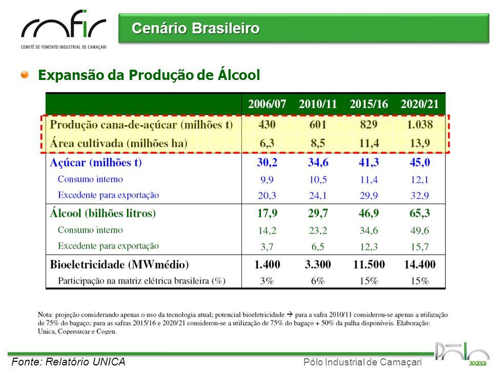 Pólo Industrial de Camaçari Cenário Brasileiro Expansão da Produção de Álcool Fonte: Relatório UNICA