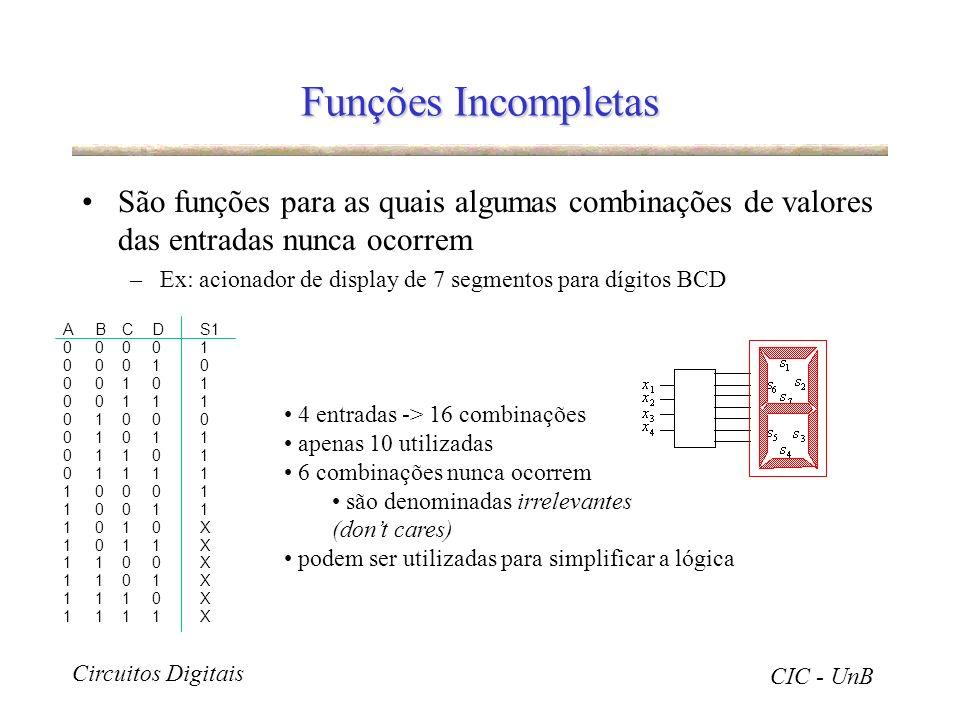 Circuitos Digitais CIC - UnB Funções Incompletas São funções para as quais algumas combinações de valores das entradas nunca ocorrem –Ex: acionador de