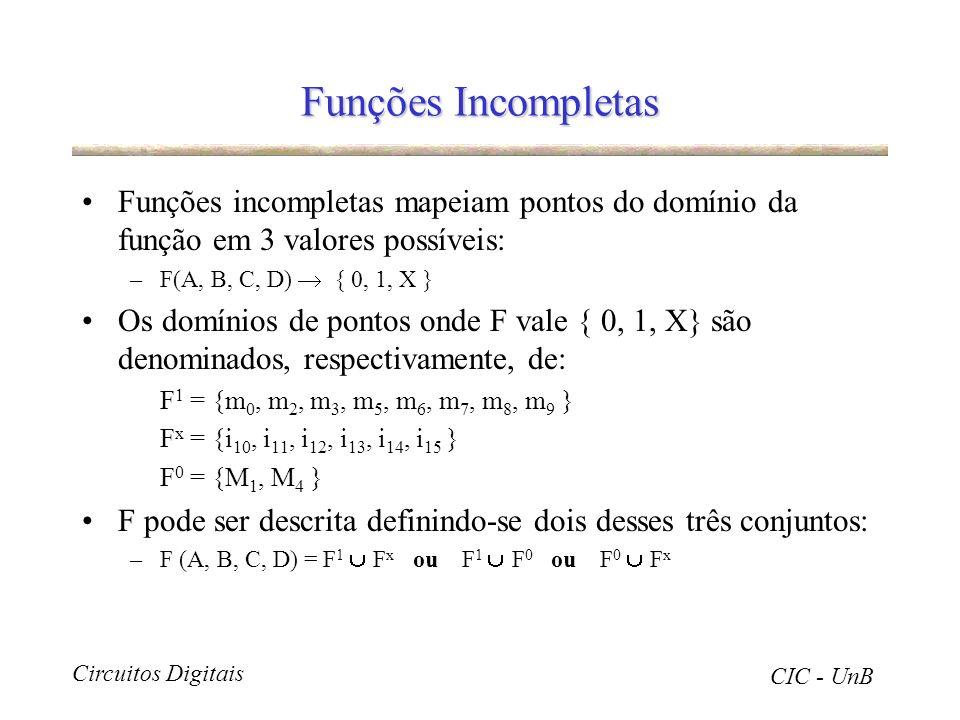 Circuitos Digitais CIC - UnB Funções Incompletas Funções incompletas mapeiam pontos do domínio da função em 3 valores possíveis: –F(A, B, C, D) { 0, 1
