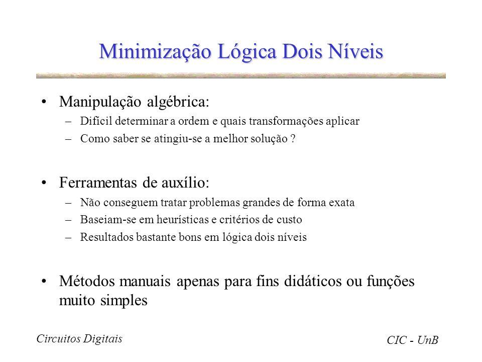 Circuitos Digitais CIC - UnB Minimização Lógica Dois Níveis Manipulação algébrica: –Difícil determinar a ordem e quais transformações aplicar –Como sa