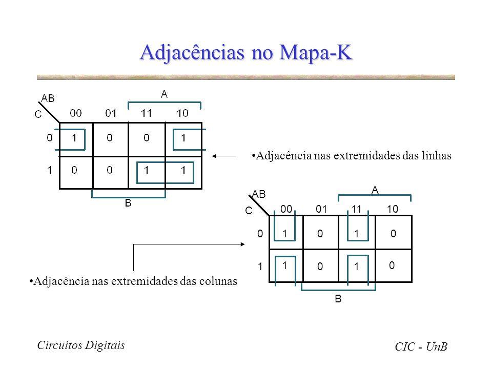 Circuitos Digitais CIC - UnB Adjacências no Mapa-K Adjacência nas extremidades das linhas 00 C AB 011110 0101 1 10 0 A B 0 1 Adjacência nas extremidad