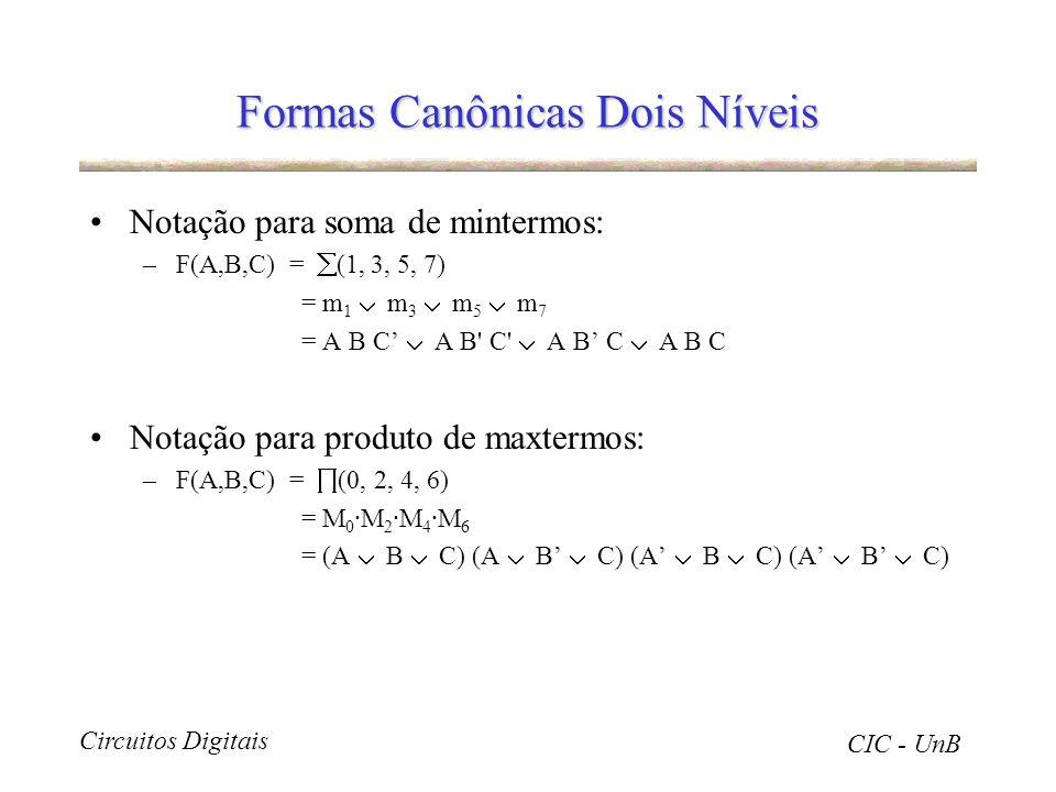 Circuitos Digitais CIC - UnB Formas Canônicas Dois Níveis Notação para soma de mintermos: –F(A,B,C) = (1, 3, 5, 7) = m 1 m 3 m 5 m 7 = A B C A B' C' A