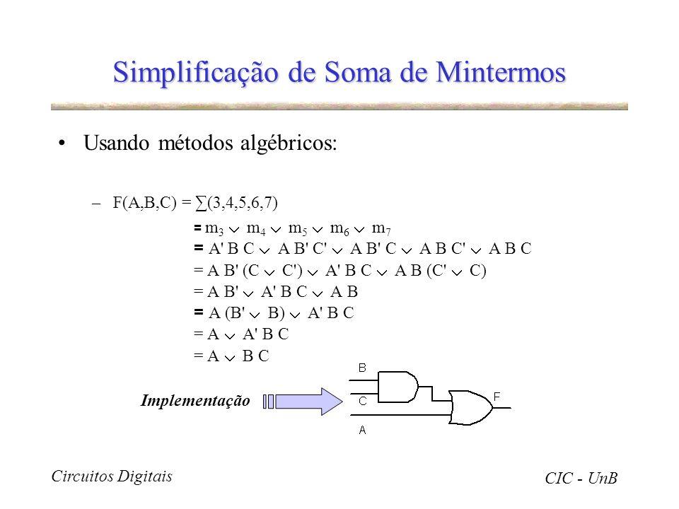 Circuitos Digitais CIC - UnB Simplificação de Soma de Mintermos Usando métodos algébricos: –F(A,B,C) = (3,4,5,6,7) = m 3 m 4 m 5 m 6 m 7 = A' B C A B'
