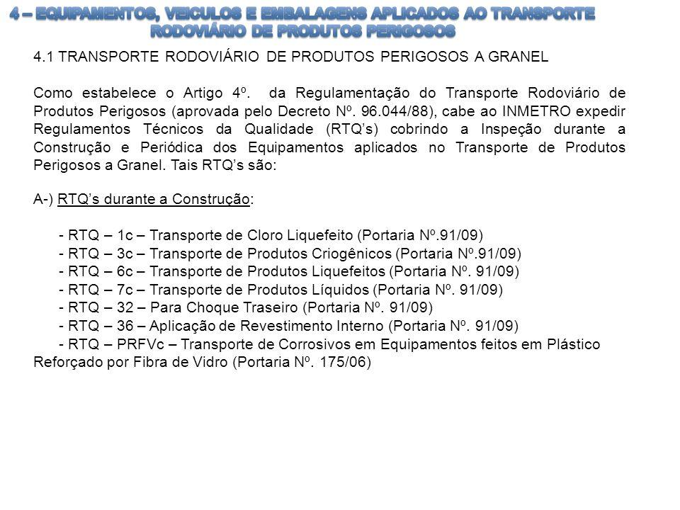 4.1 TRANSPORTE RODOVIÁRIO DE PRODUTOS PERIGOSOS A GRANEL Como estabelece o Artigo 4º. da Regulamentação do Transporte Rodoviário de Produtos Perigosos
