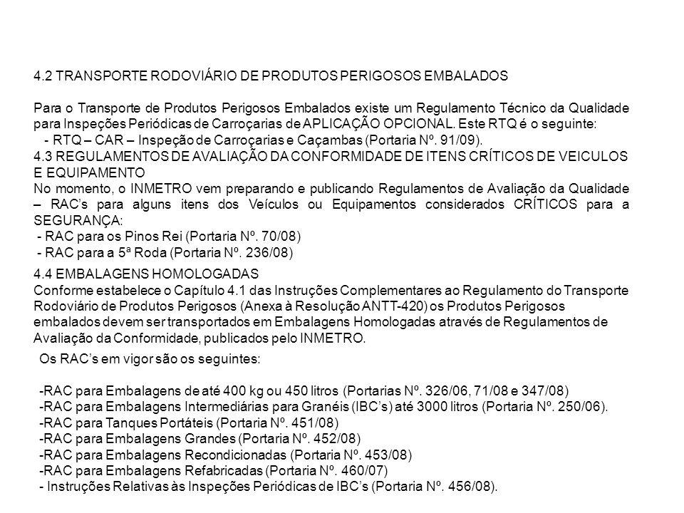 4.2 TRANSPORTE RODOVIÁRIO DE PRODUTOS PERIGOSOS EMBALADOS Para o Transporte de Produtos Perigosos Embalados existe um Regulamento Técnico da Qualidade