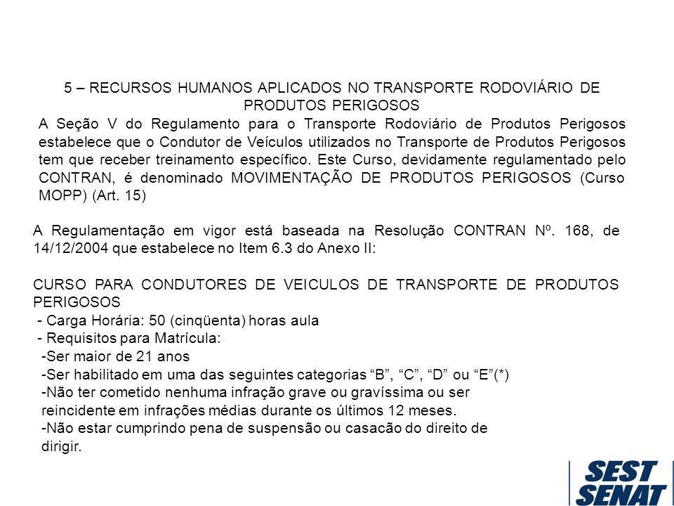5 – RECURSOS HUMANOS APLICADOS NO TRANSPORTE RODOVIÁRIO DE PRODUTOS PERIGOSOS A Seção V do Regulamento para o Transporte Rodoviário de Produtos Perigo