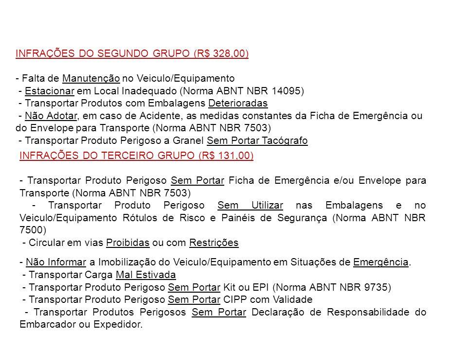 INFRAÇÕES DO SEGUNDO GRUPO (R$ 328,00) - Falta de Manutenção no Veiculo/Equipamento - Estacionar em Local Inadequado (Norma ABNT NBR 14095) - Transpor