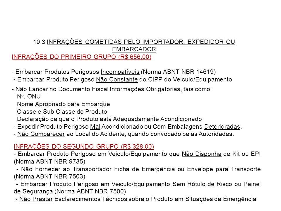 10.3 INFRAÇÕES COMETIDAS PELO IMPORTADOR, EXPEDIDOR OU EMBARCADOR INFRAÇÕES DO PRIMEIRO GRUPO (R$ 656,00) - Embarcar Produtos Perigosos Incompatíveis