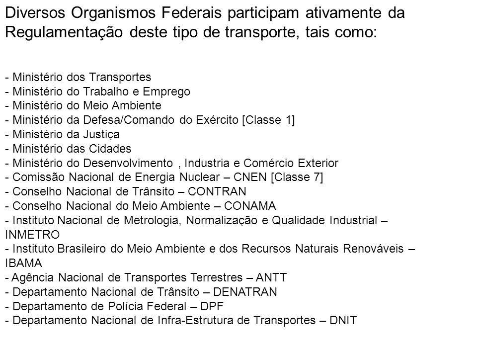 Diversos Organismos Federais participam ativamente da Regulamentação deste tipo de transporte, tais como: - Ministério dos Transportes - Ministério do