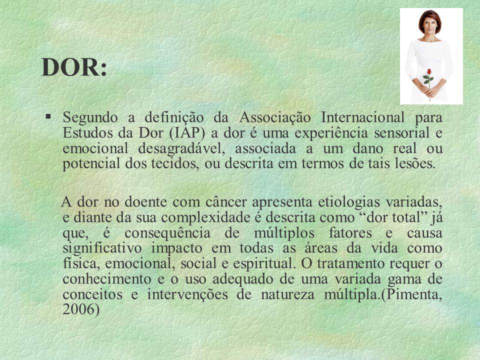 DOR: Segundo a definição da Associação Internacional para Estudos da Dor (IAP) a dor é uma experiência sensorial e emocional desagradável, associada a