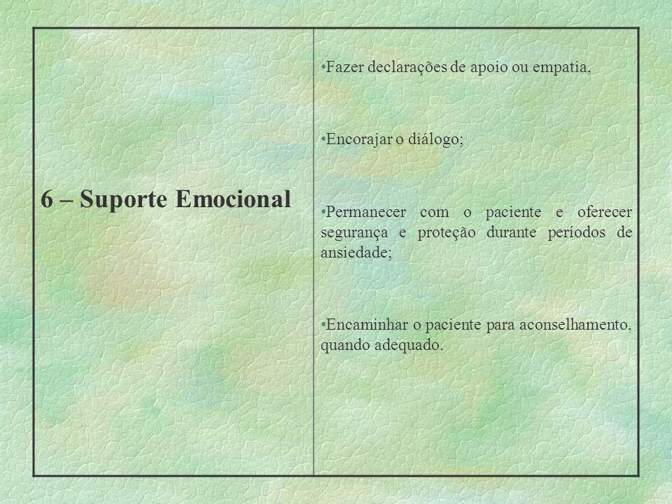 6 – Suporte Emocional Fazer declarações de apoio ou empatia, Encorajar o diálogo; Permanecer com o paciente e oferecer segurança e proteção durante pe